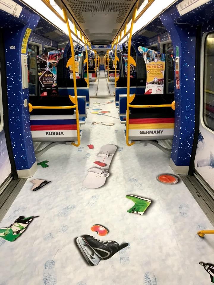 inverno metro lilla pubblicità milano